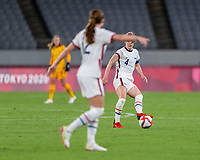 TOKYO, JAPAN - JULY 21: Becky Sauerbrunn #4 of the USWNT passes the ball during a game between Sweden and USWNT at Tokyo Stadium on July 21, 2021 in Tokyo, Japan.