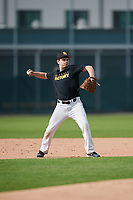 Brock Reid (21), from Chandlerville, Illinois, while playing for the Pirates during the Baseball Factory Pirate City Christmas Camp & Tournament on December 29, 2017 at Pirate City in Bradenton, Florida.  (Mike Janes/Four Seam Images)