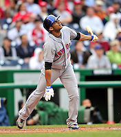 30 September 2009: New York Mets' first baseman Fernando Tatis in action against the Washington Nationals at Nationals Park in Washington, DC. The Nationals rallied in the bottom of the 9th inning on a Justin Maxwell walk-off Grand Slam to win 7-4 and sweep the Mets' 3-game series, capping the Nationals' 2009 home season. Mandatory Credit: Ed Wolfstein Photo