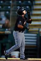Jupiter Hammerheads first baseman Eric Gutierrez (13) points to the sky after hitting a home run the second game of a doubleheader against the Bradenton Marauders on May 27, 2018 at LECOM Park in Bradenton, Florida.  Jupiter defeated Bradenton 4-1.  (Mike Janes/Four Seam Images)