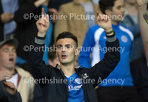 Rangers v St Johnstone...22.09.15  Scottish League Cup Round 3, Ibrox Stadium<br /> Very happy saints fans<br /> Picture by Graeme Hart.<br /> Copyright Perthshire Picture Agency<br /> Tel: 01738 623350  Mobile: 07990 594431