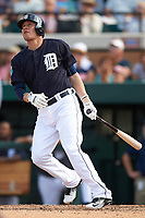 Detroit Tigers third baseman JaCoby Jones (79) hits a home run during an exhibition game against the Florida Southern Moccasins on February 29, 2016 at Joker Marchant Stadium in Lakeland, Florida.  Detroit defeated Florida Southern 7-2.  (Mike Janes/Four Seam Images)