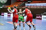 06Justus Richtzenhain, n95Dominik Kalafut, n19Luca de Boer beim Spiel in der Handball Bundesliga, TSV GWD Minden - HSG Nordhorn-Lingen.<br /> <br /> Foto © PIX-Sportfotos *** Foto ist honorarpflichtig! *** Auf Anfrage in hoeherer Qualitaet/Aufloesung. Belegexemplar erbeten. Veroeffentlichung ausschliesslich fuer journalistisch-publizistische Zwecke. For editorial use only.
