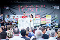 Timothy Stevens (BEL/Cibel) receiving the 'Michaël Goolaerts prize' for most combative rider.<br /> <br /> <br /> Heistse Pijl 2019<br /> One Day Race: Turnhout > Heist-op-den-Berg 194km (UCI 1.1)<br /> ©kramon