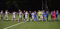 Players and the referees giving each other a fist bump before a female soccer game between  Racing Genk Ladies and Royal Sporting Club Anderlecht , a delayed game from the 1st  matchday of the 2021-2022 season of the Belgian Scooore Womens Super League , tuesday 28 September 2021  in Genk , Belgium . PHOTO SPORTPIX | JILL DELSAUX