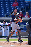 Cal State Fullerton Titans catcher A.J. Kennedy (10) during a game against the Louisville Cardinals on February 15, 2015 at Bright House Field in Clearwater, Florida.  Cal State Fullerton defeated Louisville 8-6.  (Mike Janes/Four Seam Images)