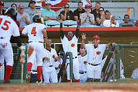 Florida Fire Frogs Jonathan Morales (4) returns to the dugout after scoring a run as teammates Ray-Patrick Didder (left), Ronald Acuna (center) and Wigberto Nevarez (right) celebrate during a game against the Daytona Tortugas on April 6, 2017 at Osceola County Stadium in Kissimmee, Florida.  Daytona defeated Florida 3-1.  (Mike Janes/Four Seam Images)