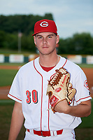 Greeneville Reds pitcher Ricky Karcher (30) poses for a photo before a game against the Pulaski Yankees on July 27, 2018 at Pioneer Park in Tusculum, Tennessee.  Greeneville defeated Pulaski 3-2.  (Mike Janes/Four Seam Images)