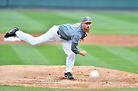 Tennessee Volunteers starting pitcher Garrett Stallings (27) delivers a pitch during a game against the University of North Carolina Greensboro (UNCG) Spartans at Lindsey Nelson Stadium on February 24, 2018 in Knoxville, Tennessee. The Volunteers defeated Spartans 11-4. (Tony Farlow/Four Seam Images)