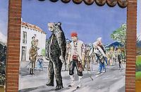 Europe/France/Languedoc-Roussillon/66/Pyrénées-Orientales/Vallespir/St-Laurent-de-Cerdan: Mur peint représentant la fête de l'ours