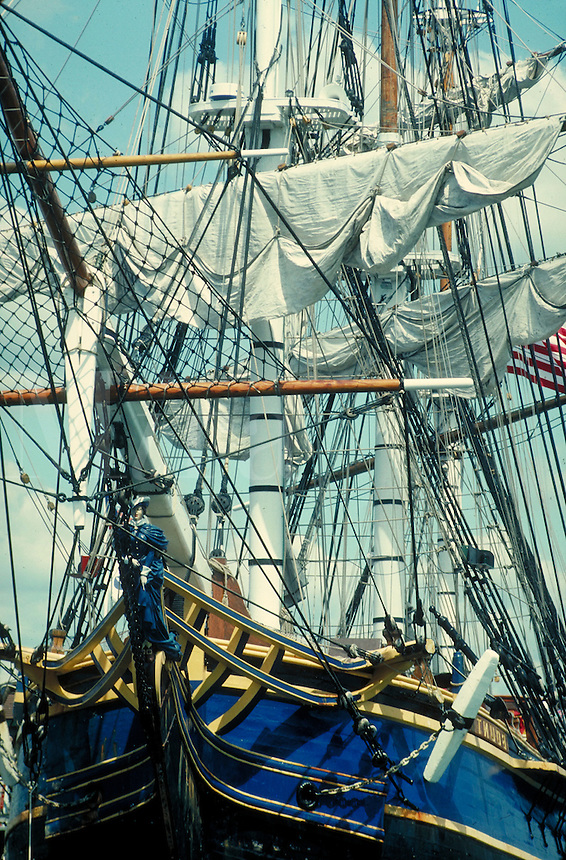 """Close up of rigging and sails on """"The Bounty"""" traditional sailing ship."""