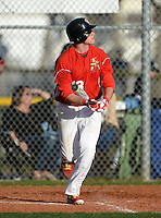 Clearwater Central Catholic Marauders Brenden Overton (13) hits a home run during a game against Indian Rocks Christian Golden Eagles at Indian Rocks Christian High School on February 18, 2014 in Largo, Florida.  (Mike Janes/Four Seam Images)