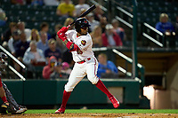 Rochester Red Wings Victor Robles (15) bats during a game against the Worcester Red Sox on September 3, 2021 at Frontier Field in Rochester, New York.  (Mike Janes/Four Seam Images)