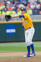 UC Santa Barbara Gauchos pitcher Noah Davis (34) in action against the Miami Hurricanes in Game 5 of the NCAA College World Series on June 20, 2016 at TD Ameritrade Park in Omaha, Nebraska. UC Santa Barbara defeated Miami  5-3. (Andrew Woolley/Four Seam Images)