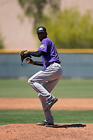 Colorado Rockies relief pitcher Aneudy Duarte (72) prepares to deliver a pitch during an Extended Spring Training game against the Chicago Cubs at Sloan Park on April 17, 2018 in Mesa, Arizona. (Zachary Lucy/Four Seam Images)