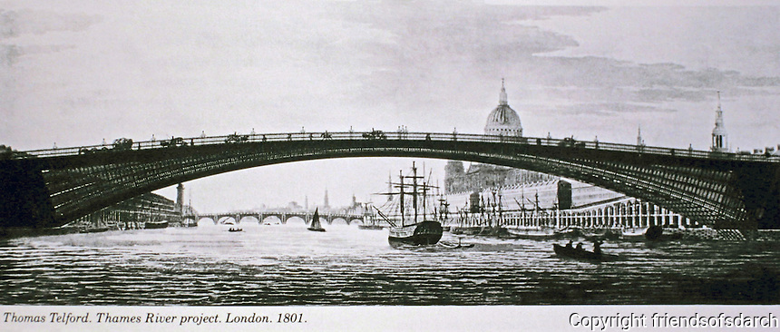Thames River project by Thomas Telford. London, 181. Historic photograph.