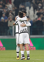 Calcio, semifinali di andata di Coppa Italia: Juventus vs Inter. Torino, Juventus Stadium, 27 gennaio 2016.<br /> Juventus' Alvaro Morata, left, and Paulo Dybala celebrate at the end of the Italian Cup semifinal first leg football match between Juventus and FC Inter at Juventus stadium, 27 January 2016. Juventus won 3-0.<br /> UPDATE IMAGES PRESS/Isabella Bonotto