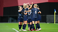 21st July 2021; Sapporo, Japan; Ellen White 9 GBR celebrates scoring her second goal with her teammates during the womens Olympic Football Tournament Tokyo 2020 match between Great Britain and Chile at Sapporo Dome in Sapporo, Japan. Great Britain won the game by a score of 2-0