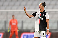 Cristiano Ronaldo of Juventus reacts during the Serie A football match between Juventus FC and US Lecce at Juventus stadium in Turin  ( Italy ), June 26th, 2020. Play resumes behind closed doors following the outbreak of the coronavirus disease. Photo Andrea Staccioli / Insidefoto