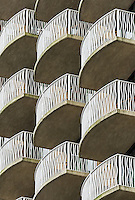 Pattern of condo balconies on a hi-rise building.