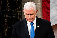 Vice President Mike Pence presides over a Joint session of Congress to certify the 2020 Electoral College results on Capitol Hill in Washington, DC on January 6, 2020.<br /> Credit: Erin Schaff / Pool via CNP/AdMedia