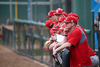 Nebraska Cornhuskers Head Coach Darin Erstad (17) far right,  watches a game against the Long Beach State Dirtbags in the first game of a doubleheader at Blair Field on March 5, 2016 in Long Beach, California. Long Beach State defeated Nebraska, 1-0. (Larry Goren/Four Seam Images)