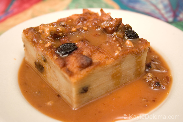 Bread pudding with praline sauce at the Praline Connection Southern Creole Soulfood Restaurant in New Orleans, LA