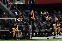 ATLANTA, GA - AUGUST 22: Atlanta manager Stephen Glass watches play during a game between Nashville SC and Atlanta United FC at Mercedes-Benz Stadium on August 22, 2020 in Atlanta, Georgia.