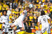 27 MARCH 2010:  Ty Harden of Toronto FC (20) heads the ball during the Toronto FC at Columbus Crew MLS game in Columbus, Ohio on March 27, 2010.