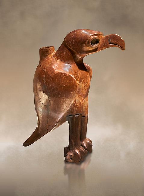 Bronze Age Anatolian eagle shaped ritual vessel - 19th to 17th century BC - Kültepe Kanesh - Museum of Anatolian Civilisations, Ankara, Turkey.  Against a warn art background.