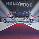 Backdrop featuring a limousine car, red carpet, Hollywood sign, like a movie premiere or awards show