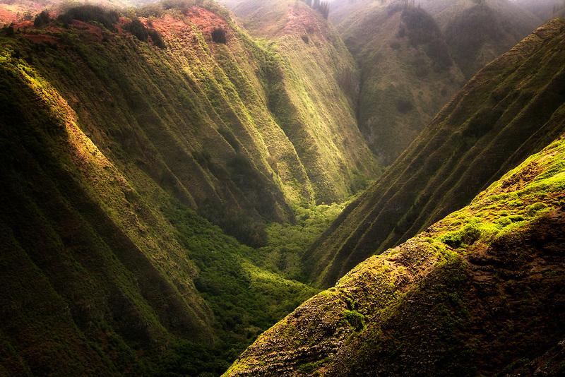 Mottled light over Maunalei Valley. Lanai, Hawaii