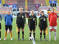 Belgium - Czech Republic : Referee..Natalia Aleksakhina (UKR).Assistant referees..Natalia Rachynska (UKR), Maryna Senikobylenko (UKR).foto DAVID CATRY / Vrouwenteam.be