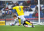 Inverness Caledonian Thistle v St Johnstone...27.10.12      SPL.Gregory Tade clean through on goal makes a bad touch and keeper Antonio Reguero saves.Picture by Graeme Hart..Copyright Perthshire Picture Agency.Tel: 01738 623350  Mobile: 07990 594431