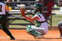 Slippery Rock catcher Brittany Jones #4 during a game against Lees-McRae College at Oren Brown Field on March 7, 2011 in Kissimmee, Florida.  Slippery Rock defeated Lees-McRae 9-6.  (Mike Janes/Four Seam Images)