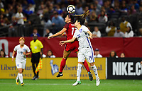 New Orleans, LA - Thursday October 19, 2017: Alex Morgan, Kim Hyeyeong during an International friendly match between the Women's National teams of the United States (USA) and South Korea (KOR) at Mercedes Benz Superdome.