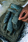 Olmec; El Manati; 3000 years old; Mexico;  Jade axes; Ponciano Ortiz