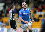 St Johnstone v Dunfermline....25.02.12   SPL.Lee Croft celebrates his goal.Picture by Graeme Hart..Copyright Perthshire Picture Agency.Tel: 01738 623350  Mobile: 07990 594431