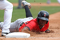 Indianapolis Indians outfielder Starling Marte #6 dives back to first during a game against the Buffalo Bisons at Coca-Cola Field on May 22, 2012 in Buffalo, New York.  Indianapolis defeated Buffalo 6-3.  (Mike Janes/Four Seam Images)