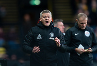 Man Utd manager Ole Gunnar Solskjaer during the Premier League match between Watford and Manchester United at Vicarage Road, Watford, England on 22 December 2019. Photo by Andy Rowland.