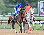 August 07, 2021: War Like Goddess #3, ridden by jockey Julian Leparoux in the post parade for the Glens Falls Stakes (Grade 2) on the turf at Saratoga Race Course in Saratoga Springs, N.Y. on August 7, 2021. Rob Simmons/Eclipse Sportswire/CSM