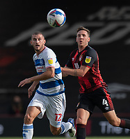 Queens Park Rangers' Dominic Ball (left) vies for possession with Bournemouth's Dan Gosling (right) <br /> <br /> Photographer David Horton/CameraSport<br /> <br /> The EFL Sky Bet Championship - Bournemouth v Queens Park Rangers - Saturday 17th October 2020 - Vitality Stadium - Bournemouth<br /> <br /> World Copyright © 2020 CameraSport. All rights reserved. 43 Linden Ave. Countesthorpe. Leicester. England. LE8 5PG - Tel: +44 (0) 116 277 4147 - admin@camerasport.com - www.camerasport.com
