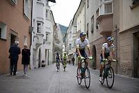 Ruben Plaza (ESP/Orica-GreenEDGE) & Amets Txurruka (ESP/Orica-GreenEDGE) on their way to the start<br /> <br /> stage 16: Bressanone/Brixen - Andalo 132km<br /> 99th Giro d'Italia 2016
