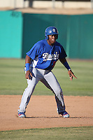 Johan Mieses (18) of the Rancho Cucamonga Quakes runs the bases during a game against the High Desert Mavericks at Heritage Field on August 7, 2016 in Adelanto, California. Rancho Cucamonga defeated High Desert, 10-9. (Larry Goren/Four Seam Images)