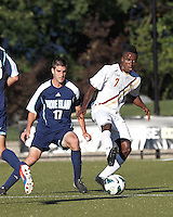 Boston College midfielder Derrick Boateng (7) controls the ball. Boston College defeated University of Rhode Island, 4-2, at Newton Campus Field, September 25, 2012.