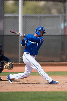 Kansas City Royals shortstop Jeison Guzman (1) during a Minor League Spring Training game against the Milwaukee Brewers at Maryvale Baseball Park on March 25, 2018 in Phoenix, Arizona. (Zachary Lucy/Four Seam Images)