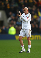 Jonjo Shelvey of Swansea  applauds the fans   during the Emirates FA Cup 3rd Round between Oxford United v Swansea     played at Kassam Stadium  on 10th January 2016 in Oxford