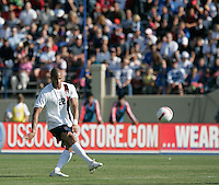 Oguchi Onyewu sends a ball downfield. The USA defeated China, 4-1, in an international friendly at Spartan Stadium, San Jose, CA on June 2, 2007.