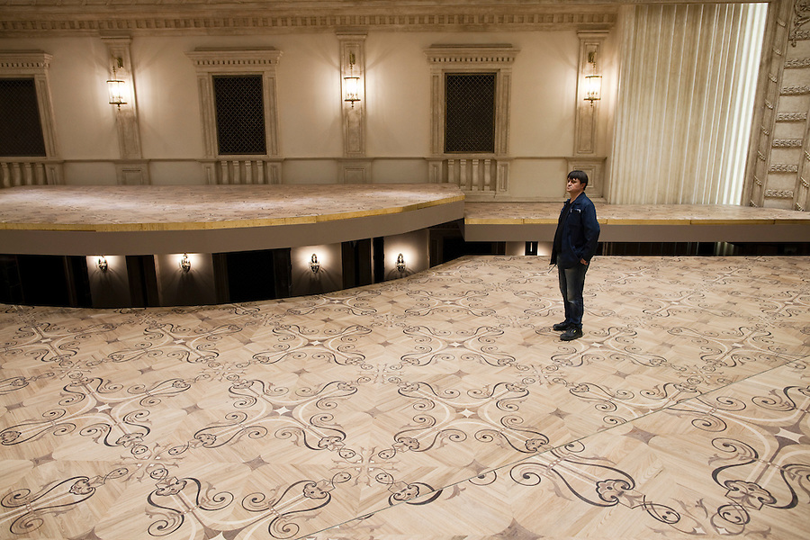 Moscow, Russia, 08/10/2011..A hydraulic stage at a new underground facility inside the Bolshoi Theatre during a press tour showcasing the almost completed renovation work. The building has been closed for repairs since 2005 and is scheduled to reopen on October 28th 2011.