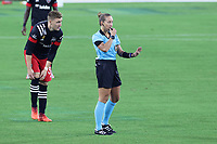 NASHVILLE, TN - SEPTEMBER 23: Referee Tori Penso puts the whistle to her lips, preparing to start the game between D.C. United and Nashville SC at Nissan Stadium on September 23, 2020 in Nashville, Tennessee.